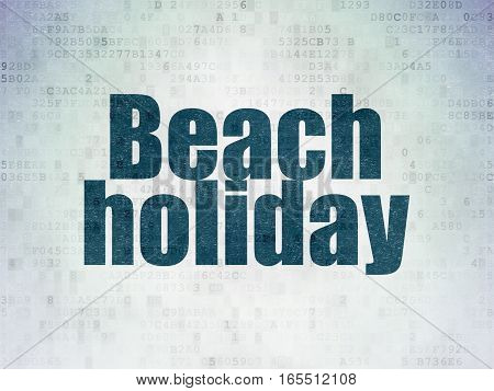 Tourism concept: Painted blue word Beach Holiday on Digital Data Paper background