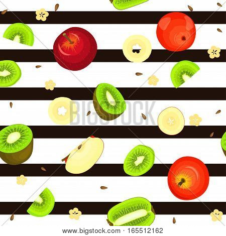 Seamless vector pattern of ripe kiwi apple fruit. Striped background with delicious juicy kiwifruit apple slice half. Vector fruits Illustration for printing on fabric textile, packaging