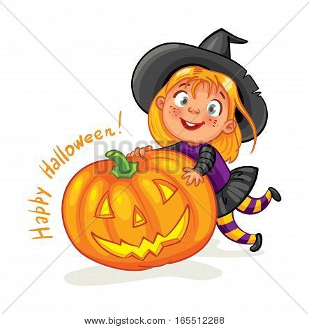 Happy Halloween. Funny little child in colorful costumes. Girl dressed as a witch and halloween pumpkin. Cartoon character. Vector illustration. Isolated on white background