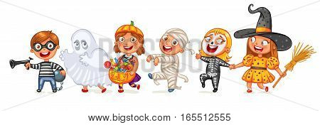 Happy Halloween. Funny little children in colorful costumes. Robber, ghost, mummy, skeleton, witch. Cartoon character. Vector illustration. Isolated on white background