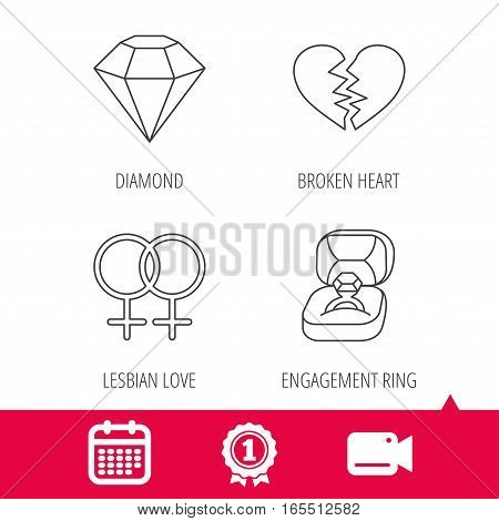 Achievement and video cam signs. Broken heart, diamond and engagement ring icons. Lesbian love linear sign. Calendar icon. Vector