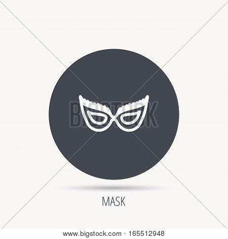 Festive mask icon. Masquerade carnival sign. Anonymous symbol. Round web button with flat icon. Vector