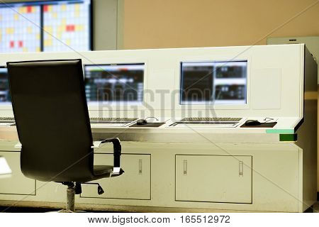 Interior of central control room of power plant