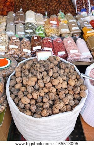 Bag of Walnuts in Shells at Farmers Market