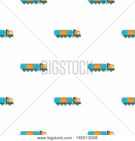 Oil tank trucker icon in cartoon style isolated on white background. Oil industry pattern vector illustration.