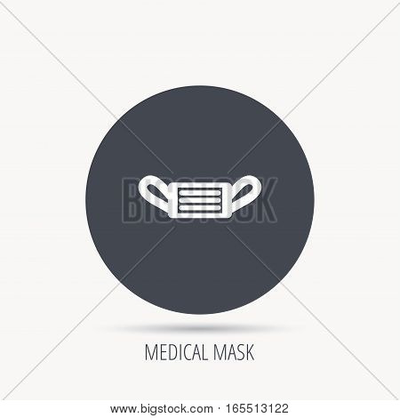 Medical mask icon. Epidemic sign. Illness protection symbol. Round web button with flat icon. Vector
