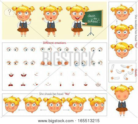 Schoolgirl. Parts of body template for design work and animation. Face and body elements. Funny cartoon character. She nodded her head yes. She shook her head no. Vector illustration. Set poster