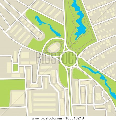 City map. Schematic cartographic representation of roads, homes, vegetation and ponds