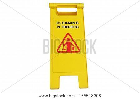 Cleaning in process and caution wet floor symbol isolated on white background