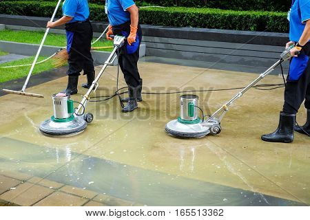 scrubber machine for cleaning and polishing floor
