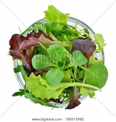 Fresh mixed greens leaf vegetables in bowl isolated overhead view