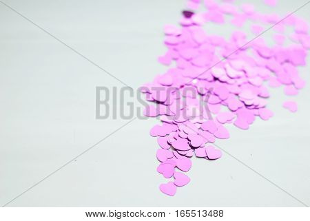 Colorful Confetti On Light Background, Little Hearts Rise Up,
