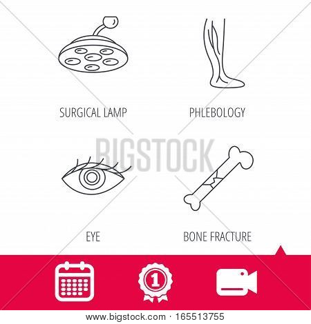 Achievement and video cam signs. Eye, bone fracture and vein varicose icons. Surgical lamp linear sign. Calendar icon. Vector