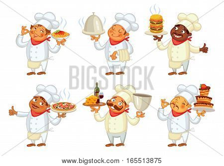 Chef serving the dish. Funny cartoon character. Vector illustration. Isolated on white background. Set