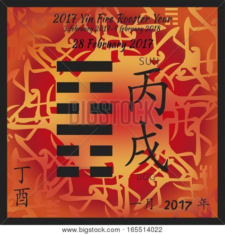 Symbol of i ching hexagram from chinese hieroglyphs. Translation of 12 zodiac feng shui signs hieroglyphs- sun and dog. I ching calendar of 2017 year with feng shi elements.