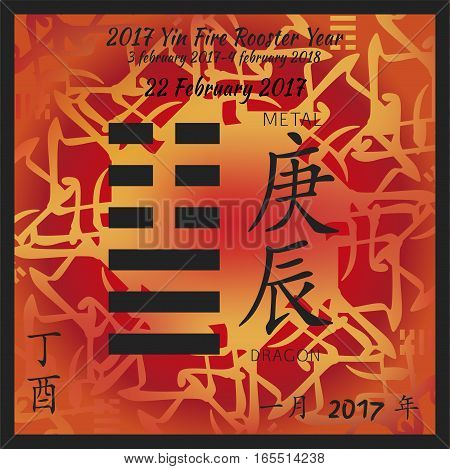 Symbol of i ching hexagram from chinese hieroglyphs. Translation of 12 zodiac feng shui signs hieroglyphs- metal and dragon. I ching calendar of 2017 year with feng shi elements.