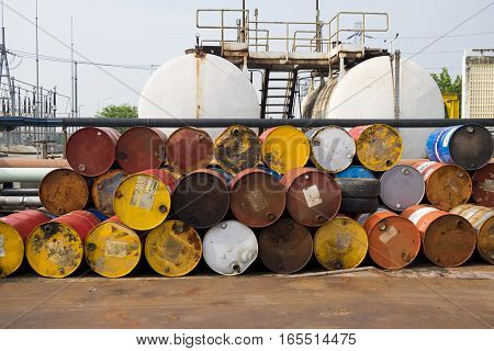Used fuel oil or chemical 200 liter tank in power plant or industrial plant