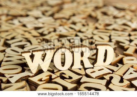 Close-up Wooden Word on a background of wood alphabet