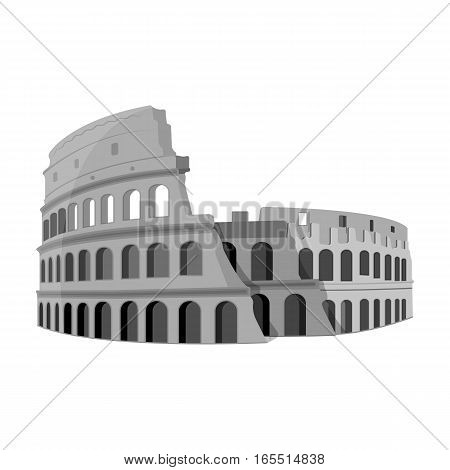 Colosseum in Italy icon in monochrome design isolated on white background. Countries symbol vector illustration.