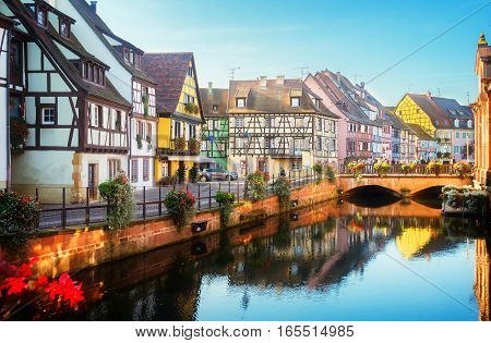 canal of Colmar, most famous town of Alsace, France, toned