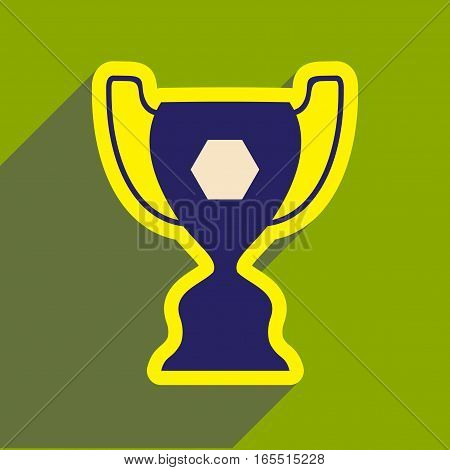 flat icon with long shadow football cup