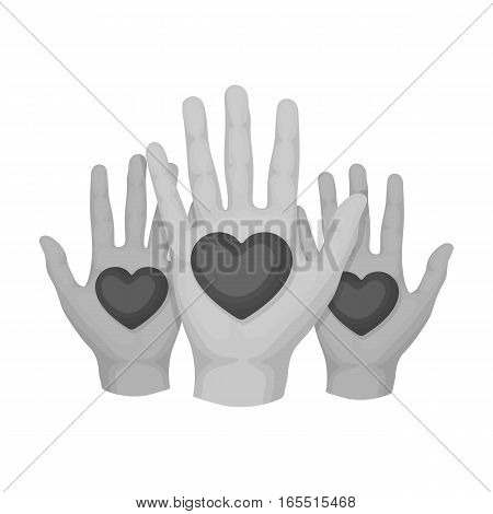 Hands up with hearts icon in monochrome design isolated on white background. Charity and donation symbol stock vector illustration.