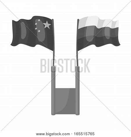 Russia and China flags icon in monochrome design isolated on white background. Interpreter and translator symbol stock vector illustration.