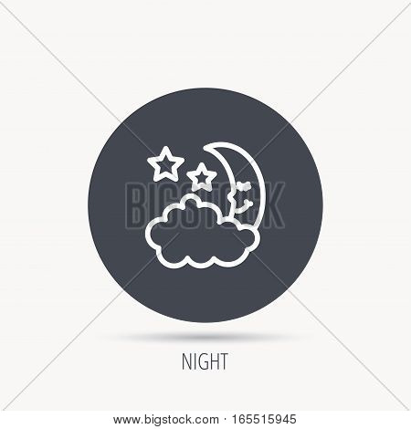 Night or sleep icon. Moon and stars sign. Crescent astronomy symbol. Round web button with flat icon. Vector