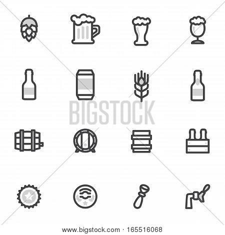 beer vector icons, labels, signs. Vector symbols and design elements labels, restaurants, pubs, cafe and beer