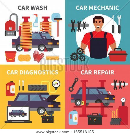Car service maintenance. Auto transport diagnostics, care and mechanic repair work. Vector set illustration