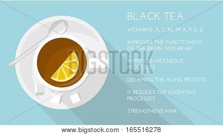 Black tea: properties and health benefits. Cup of black tea, top view