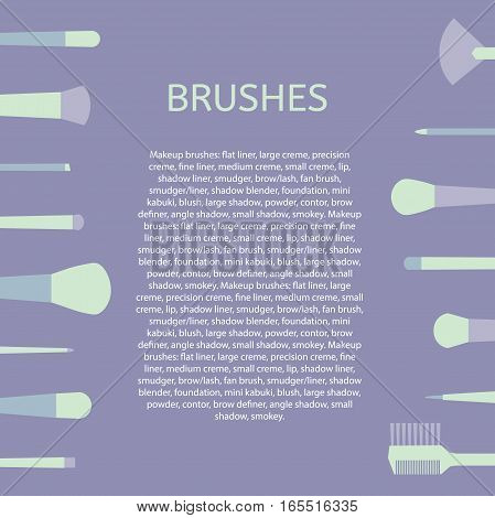 Different types of brushes for makeup. Template text