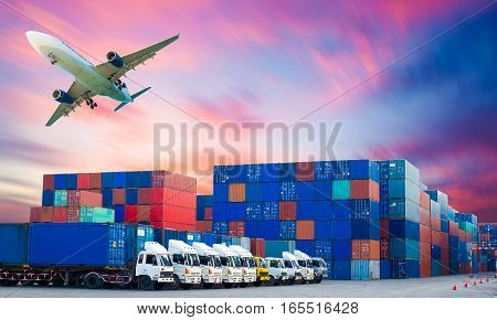 Containers shipping and forklift handling container box loading for import-export commercial logistic shipping business industry and air freight