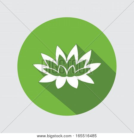 Lily flower icon. Waterlily, water-lilies floral symbol. Round circle flat sign with long shadow. Vector
