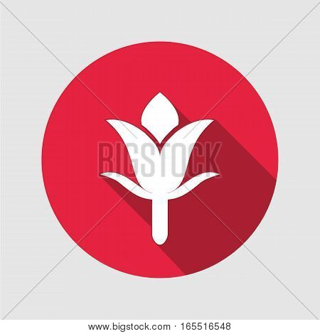 Cloves icon. Floral symbol. Round flat sign with long shadow. Vector isolated.