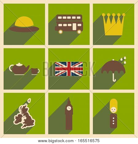 Set of flat icons with long shadow United Kingdom
