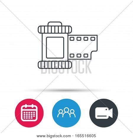 Retro photo icon. Camera roll sign. Group of people, video cam and calendar icons. Vector