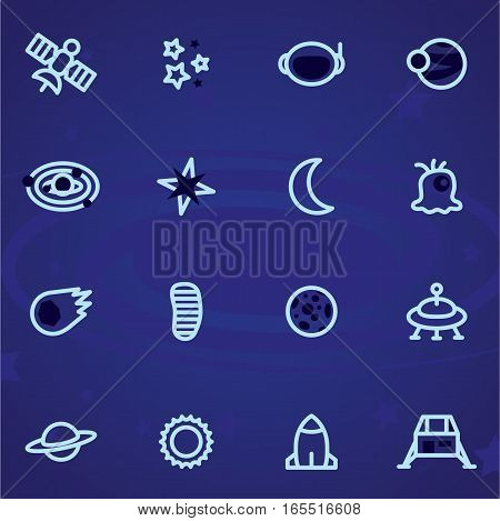 Set of vector icons and logos space, stars, planets, universe, rocket, moon on a dark background.