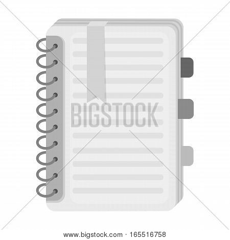 Personal dictionary icon in monochrome design isolated on white background. Interpreter and translator symbol stock vector illustration.