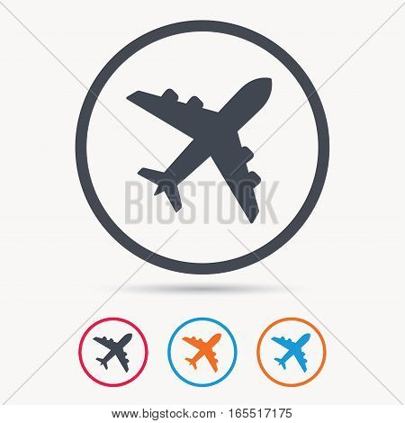 Plane icon. Flight transport symbol. Colored circle buttons with flat web icon. Vector