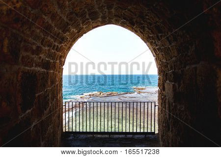 View on the sea from Acre fortification old town