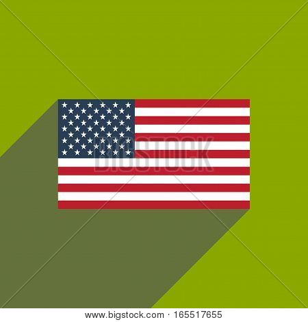 flat icon with long shadow American flag