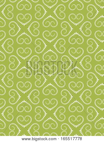 Seamless heart pattern. Vintage texture. Twist ornament of laurel leaves. Olive, white, warm, soft colored background. Love, birthday, Easter theme. Vector