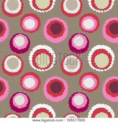 Seamless polka dot, motley texture. Abstract spotty pattern. Circles with torn paper effect. Rosy, red, silver, cream colored. Vector