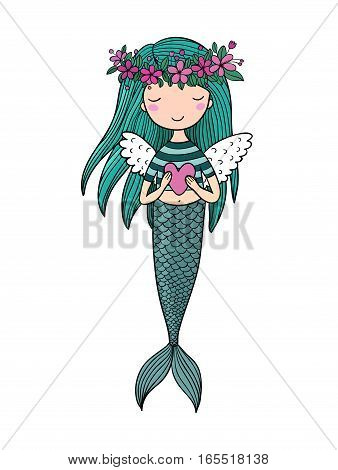 Beautiful little mermaid. Siren. Sea theme. isolated objects on white background. Vector illustration.