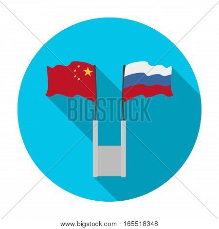 Russia and China flags icon in flat design isolated on white background. Interpreter and translator symbol stock vector illustration.