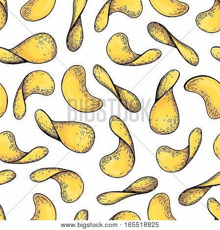 Potato chips vector seamless pattern. Hand drawn food background.  Detailed artistic style fastfood ornament