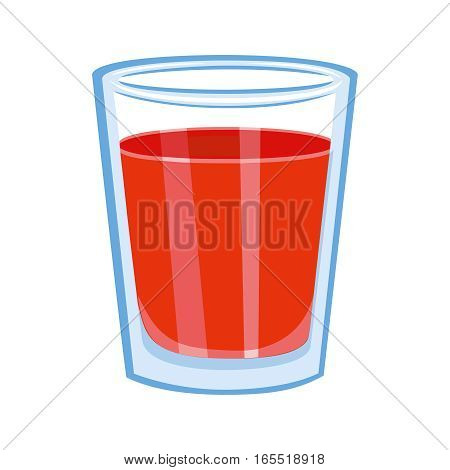 Tomato juice glass. Fruit organic drink. Healthy diet and clean eating concept. Isolated on white background