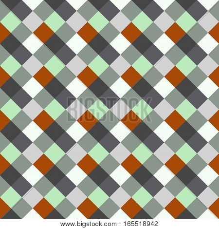 Seamless geometric checked pattern. Diagonal square, woven line background. Rhombus, patchwork texture. Gray, orange, aquamarine, soft colored. Vector