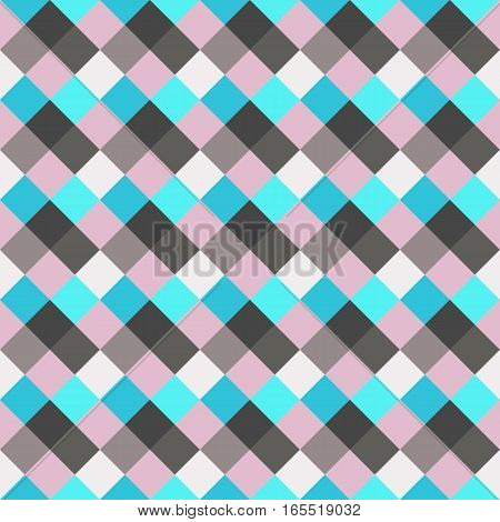 Seamless geometric checked pattern. Diagonal square, woven line background. Rhombus, patchwork texture. Blue, gray, rose, sea, soft colored. Vector